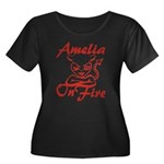Amelia On Fire Women's Plus Size Scoop Neck Dark T
