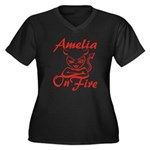 Amelia On Fire Women's Plus Size V-Neck Dark T-Shi