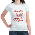 Amelia On Fire Jr. Ringer T-Shirt