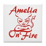 Amelia On Fire Tile Coaster