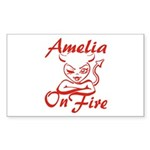 Amelia On Fire Sticker (Rectangle)