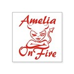 Amelia On Fire Square Sticker 3