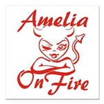 Amelia On Fire Square Car Magnet 3