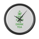 Keep calm and drink tea Large Wall Clock