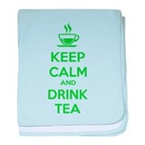 Keep calm and drink tea baby blanket