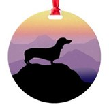 dachshund dog purple mt. Ornament (Round)