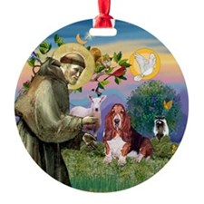Saint Francis and Basset Hound Keepsake (Round)
