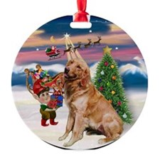 Christmas Tree and Golden Keepsake (Round)