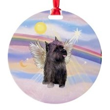 Brindle Cairn Terrier Angel Ornament (Round)