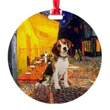 Terrace Cafe and Beagle Ornament (Round)