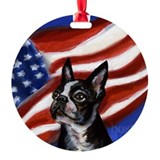 BOSTON TERRIER American Flag Ornament (Round)