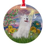 Cloud Angel &amp; Samoyed Ornament (Round)