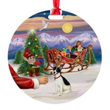 Santa's Treat for his Rat Terrier Ornament (Round)