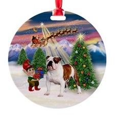 Christmas Tree & English Bulldog Ornament (Round)