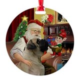 Santa's English Bull Mastiff Ornament (Round)