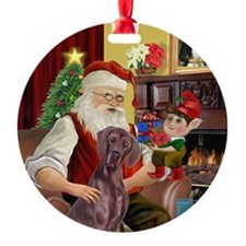 Santa and his Weimaraner Ornament (Round)