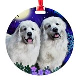 GREAT PYRENEES Dogs Moon Garden Ornament (Round)