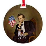 Lincoln and his Chihuahua Ornament (Round)