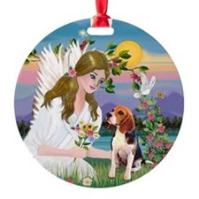 Angel and Beagle Ornament (Round)