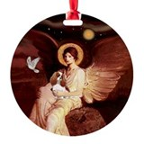 Seated Angel & Blenheim Cavalier Ornament (Round)