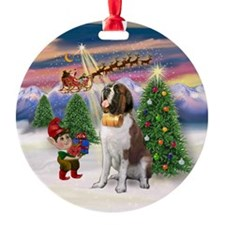 Saint Bernard & Christmas Tree Ornament (Round)
