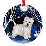 WESTIE DOG WINTER FOREST Keepsake (Round)