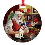Santa and his Rat Terrier Ornament (Round)