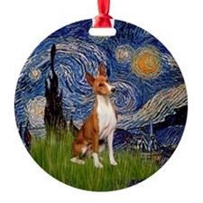 Starry Night Basenji Ornament (Round)