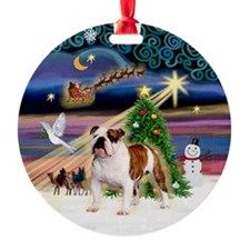 Xmas Magic English Bulldog Ornament (Round)