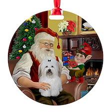 Santa's Coton De Tulear Ornament (Round)
