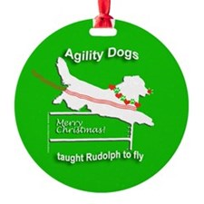 Christmas Agility Dog Rudolph Ornament (Round)