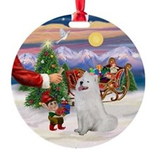 Santa's Treat for his Samoyed Ornament (Round)