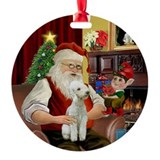 Santa's Bedlington Ornament (Round)