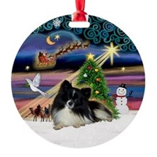 Xmas Magic Parti Pom (BW) Ornament (Round)