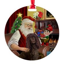 Santa's Irish Water Spaniel Ornament (Round)