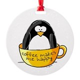 Coffee penguin Ornament (Round)