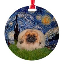 Starry Night Pekingese Ornament (Round)