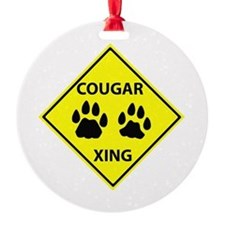 Cougar Mountain Lion Crossing Ornament (Round)