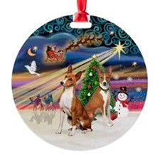 Xmas Magic - 2 Basenjis Ornament (Round)