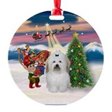 Santa's Take Off Coton De Tulear Ornament (Round)