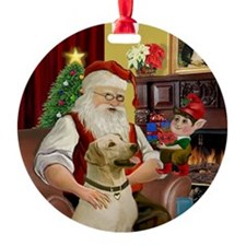 Santa's Yellow Lab Ornament (Round)