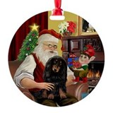 Santa's LH Doxie (Blk-Tan) Ornament (Round)