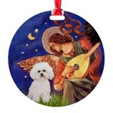 Mandolin Angel & Bichon Frise (2) Ornament (Round)