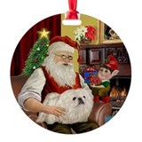 Santa's White Pekingese Ornament (Round)