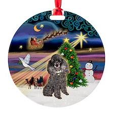 Xmas Magic & Silver Toy Poodle Ornament (Ornament