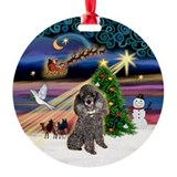 Xmas Magic & Silver Toy Poodle Ornament (Round