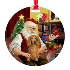 Santa's Sable LH Doxie Ornament (Round)