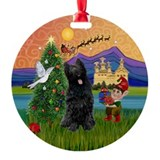 Xmas Fantasy & Black Briard Ornament (Round)