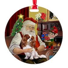 Santa's Blenheim Cavalier Ornament (Round)