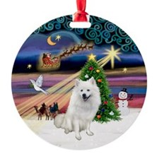 Xmas Magic & Eskimo Spitz Ornament (Round)